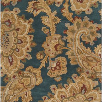 Sea Floral and Paisley Area Rug Blue, Brown