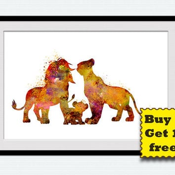 The Lion King watercolor print The Lion King colorful poster Home decoration Kids room wall art Nursery room decor Christmas gift art  W263