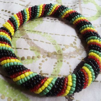 Rasta Color Seed Bead Bracelet By Doorstoafrica