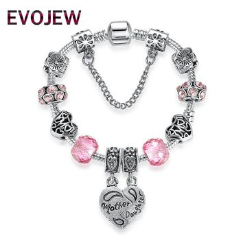 EVOJEW Popular Silver Plated Mother Daughter Heart Pendant Charms with Pink Murano Grass Beads Bracelet DIY Wedding Jewelry