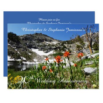 20th Wedding Anniversary Invitation, Wildflowers Card
