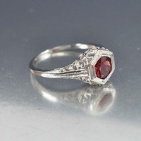 Garnet Ring, Solitaire Unique Engagement Ring, Sterling Silver Filigree Gemstone Ring, Vintage Art Deco Style Jewelry, January Birthstone