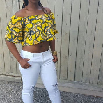 LABOUR DAY SALE Evi Crop Top  African print top