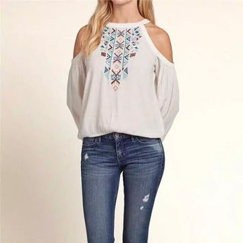White Geometric Embroidered Cutout-Shoulder Shirt