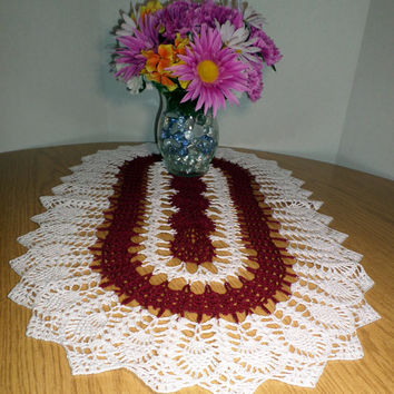 Burgundy & White Oval Hand Crocheted Table Topper/Doily/Runner