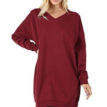 SHOPGLAMLA Solid Mock Neck Tunic Trapeze Long Sleeves Dress Made in USA