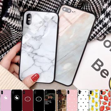 RZP Marble Love Heart Tempered Glass Case for iPhone 10 X 7 6 Glass Case Back Cover Bumper On The for iPhone X 8 7 6 s Plus Case