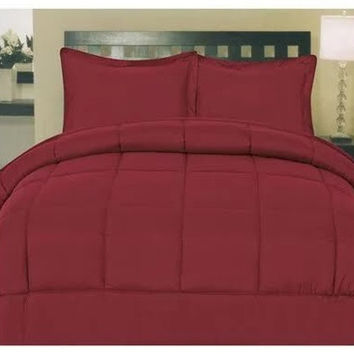 Cozy Home Down Alternative 8 Piece Embossed Comforter Set - Burgundy (King)