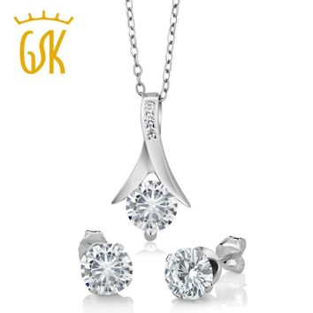 "classics White jewelry sets 2.20 Ct Round 925 Sterling Silver Pendant and Earrings Set 18"" Chain herringbone pendant ear stud"