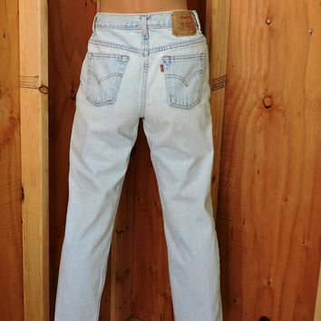 Levis 512 Vintage high waisted / size 5 / 6 / 26 X 28 / vintage 80s stonewashed high waist Levi 512 slim fit straight leg faded jeans