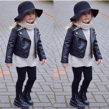 Children's Warm Jacket Faux Leather Autumn Winter Girl Boy Kids Baby Outwear Leather Coat Short Clothes Dropshipping 1220