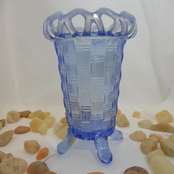Pressed Glass Fenton Blue Opalescent Basket Weave Celery Vase