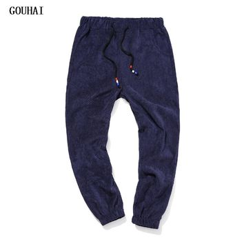 GOUHAI 2017 New Fashion Solid Corduroy Pants Man M-5XL 6XL Plus Size Casual Sweatpants Men Pantalones Hombre Harem Pants Men