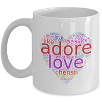 Girlfriend Gift   Love Words in Colorful Heart-Shaped Word Cloud   Romantic Gift Coffee Mug for Him/Her   Mothers Day Gift