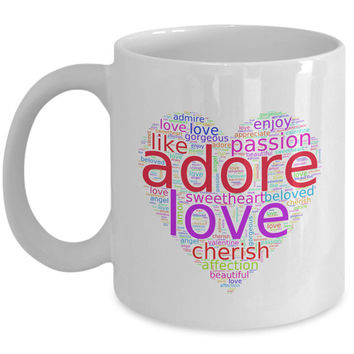 Girlfriend Gift | Love Words in Colorful Heart-Shaped Word Cloud | Romantic Gift Coffee Mug for Him/Her | Mothers Day Gift