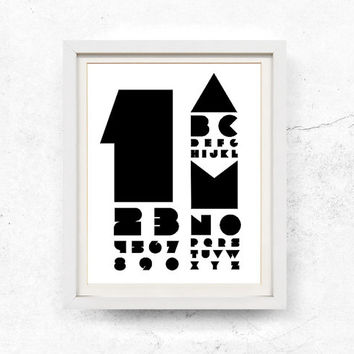 Alphabet print, Minimalist print, Typography wall art, Abstract wall art printable, Digital print, Alphabet, Numbers, Print, 8x10, 11x14
