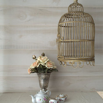 Shabby Chic Bird Cage, Decorative Hanging Bird Cage, Vintage Wicker Bird Cage