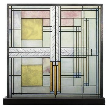 Willits House Skylight Pale Yellow Pink Stained Glass with Base by Frank Lloyd Wright 9.8H