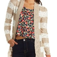 Slub Striped Open Cardigan Sweater by Charlotte Russe