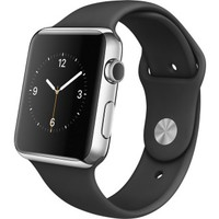 Apple - Apple Watch™ 42mm Stainless Steel Case - Black Sports Band