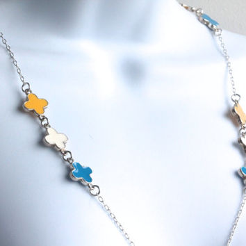 Quatrefoil bead necklace - blue, white, and yellow enamel beads
