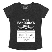 I'm Like Pandora's Box-Female Heather Onyx T-Shirt