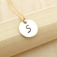 14k Gold Initial Jewelry, 1 2 3 4 5 Initial Necklace, Personalized Gold Necklace, Monogram Disc, Bridal Party Gifts, Single Initial Disc
