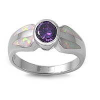 Sterling Silver Round Bezel CZ Amethyst CZ 8MM White Lab Opal Ring