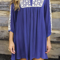 By Your Side Indigo Baby Doll Dress With Crochet Bib & Sleeve Cutouts