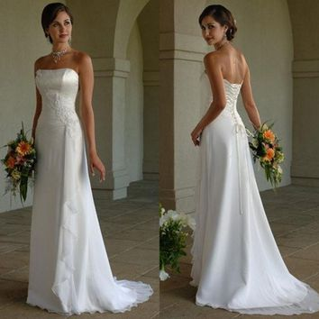 DCCKIX3 2014 Elegant Lace Up White Ivory Long Chiffon Strapless Wedding Dresses Bridal Dresses Gowns = 1933122820