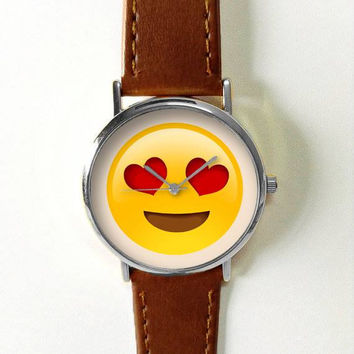 Emoji Watch Watches for Men Women Leather  Ladies Vintage Jewelry Accessories Gifts Summer Fashion Unique Funny Personalized Emoticons
