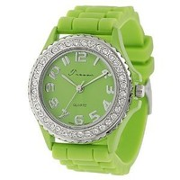 Tressa Women's Lime Rhinestone-accented Silicone Watch