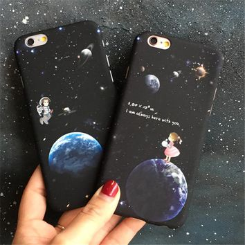 Stars and The Moon Cute Girl Phone Cases For Apple iphone 5 5S 5SE 6 6 s 6 6s plus 7 7 plus pc plastic Couple phone shell cover