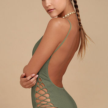 Billabong Meshin' With You Olive Green One Piece Swimsuit