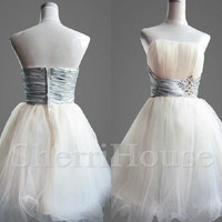 Beads Sweetheart strapless Bowknot Ball gown Short Bridesmaid Celebrity Cocktail Dress ,Tulle Evening Party Prom New Homecoming Dress