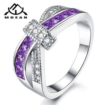 Purple Criss Cross White Gold Plated Cubic Zirconia Ring 468786abc