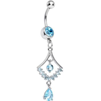 Aqua CZ Transforming Teardrop Dangle Belly Ring
