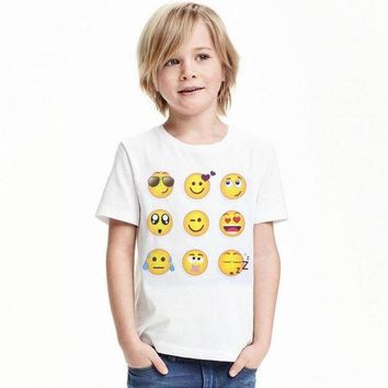 DCCKH6B New Kids Emoji Emotions Cosplay T-shirts Smiley Face Emotions Boys Summer Costumes T-shirts Tees