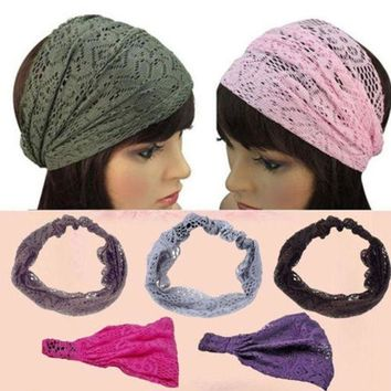 1 Pc Chic Fashion Women Girls Bandanas Turban Lace Hair Head Wraps Wide Headband Hairband Health Beauty