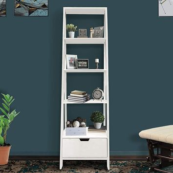 4 Shelf Wooden Ladder Bookcase with Bottom Drawer, Distressed white