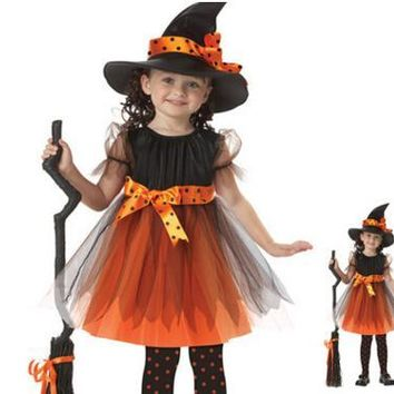 Girls 1 Witch Dress +1 hat cap Princess Party Dresses Tutu Baby Kids Children Clothing carnival halloween Cosplay Costume HB2006
