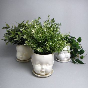 Supermarket - Porcelain baby doll head candy dish/ planter and saucer from Reshape Studio