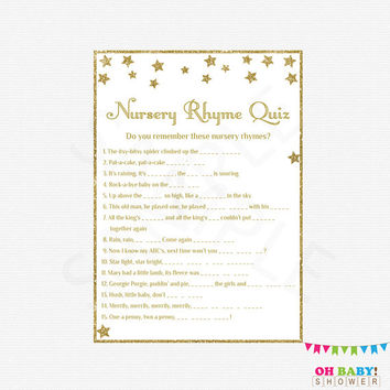Twinkle Twinkle Little Star Baby Shower Nursery Rhyme Quiz, Gold Baby Shower Games, Nursery Rhyme Quiz, Girl Boy Gold Baby Shower STGG