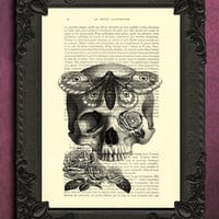 Skull Hawkmoth Art Print,  Home Decor Death's head Moth, Tattoo style - dictionary art print