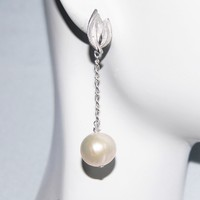 Wedding Earrings- Wedding Jewelry- Bridal Jewelry-Fresh Water Pearl Dangle Drop Earrings-June Birthstone Earrings