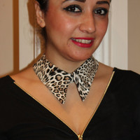 Modern  collar, leopard,  Animal print leather  peter pan collar, Bridesmaid Pearl Collar Necklace,Wedding