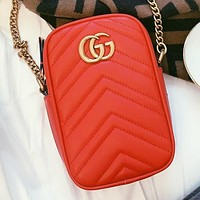 GUCCI  New fashion leather chain shoulder bag crossbody bag Red