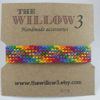 Rainbow Friendship Bracelet Armband - Plaid
