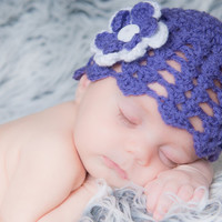 Baby Girl Newborn crochet Shell Pattern  Spring hat Summer hat Lacey hat Lilac Flower Beanie Hat Photo Prop Hat