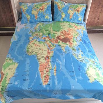 a415955ce9264 3pcs/lot World Map Printed Queen Comforter Bedding Sets King Twin Size  Luxury 3d Bed